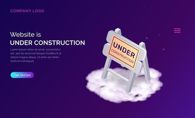Pagina di destinazione in costruzione del sito web Vettore gratuito