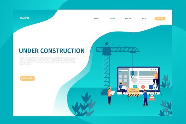 Pagina di destinazione in costruzione per il sito. Vettore Premium