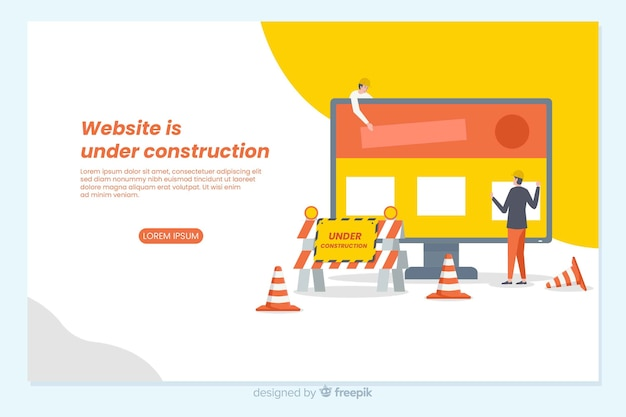 Pagina di destinazione in costruzione Vettore gratuito