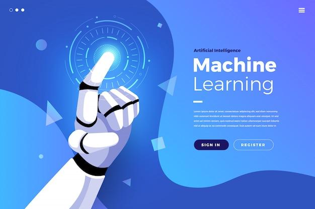 Pagina di destinazione intelligenza artificiale Vettore Premium
