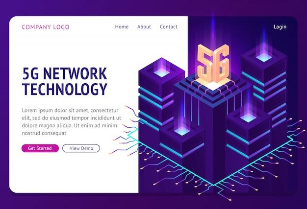 Pagina di destinazione isometrica con tecnologia di rete 5g. Vettore gratuito