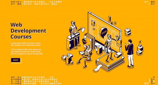 Pagina di destinazione isometrica dei corsi di sviluppo web Vettore gratuito