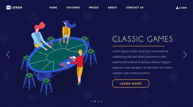 Pagina di destinazione isometrica dei giochi di carte da casinò Vettore Premium