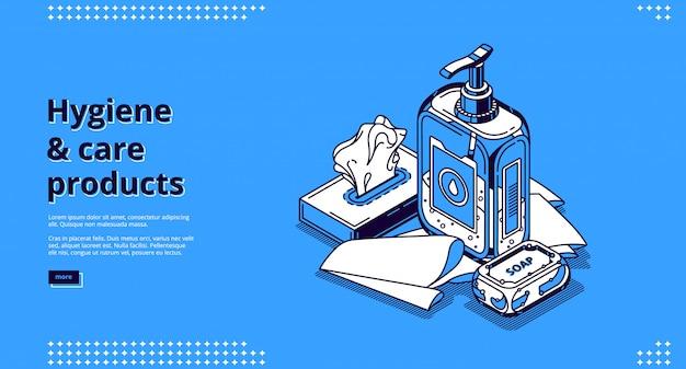 Pagina di destinazione isometrica dei prodotti per l'igiene e la cura Vettore gratuito