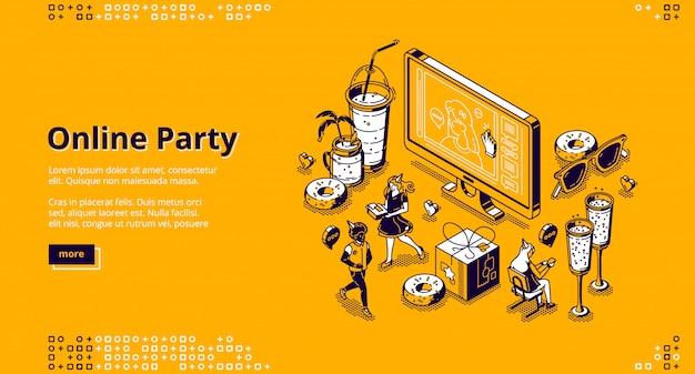 Pagina di destinazione isometrica del partito online, celebrazione Vettore gratuito
