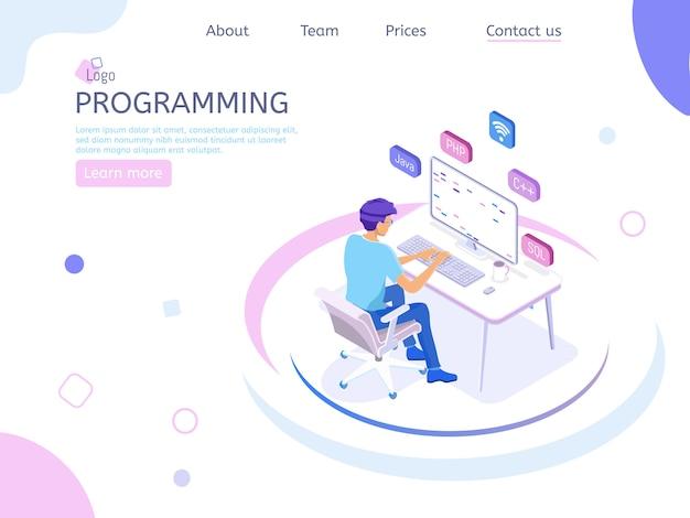 Pagina di destinazione isometrica del programmatore Vettore Premium