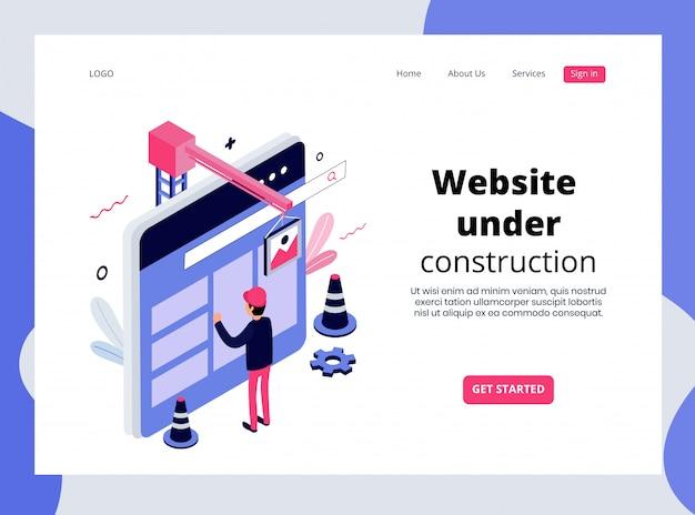 Pagina di destinazione isometrica del sito web in costruzione Vettore Premium