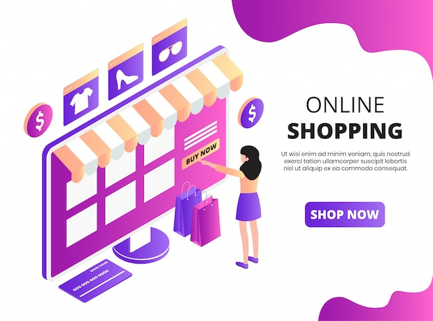 Pagina di destinazione isometrica dello shopping online Vettore Premium