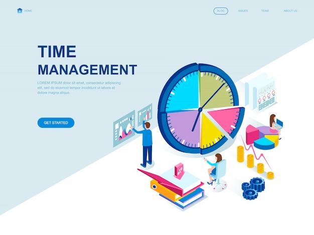 Pagina di destinazione isometrica di design piatto moderno di gestione del tempo Vettore Premium