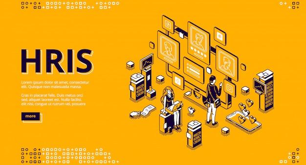 Pagina di destinazione isometrica di hris. tecnologia delle risorse umane Vettore gratuito