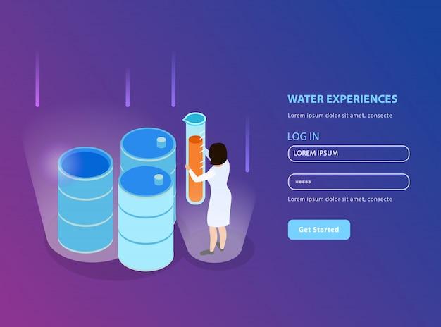 Pagina di destinazione isometrica di purificazione dell'acqua per il sito web con il modulo di registrazione e l'illustrazione della descrizione delle esperienze in acqua Vettore gratuito