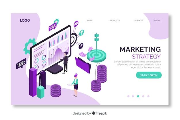 Pagina di destinazione isometrica di strategia di marketing Vettore gratuito