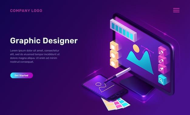 Pagina di destinazione isometrica graphic designer, banner Vettore gratuito