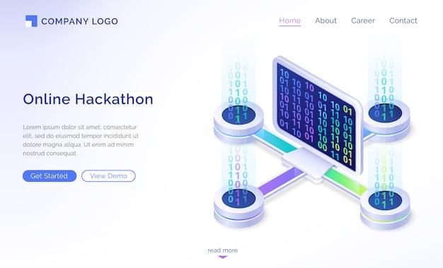 Pagina di destinazione isometrica hackathon online, banner Vettore gratuito