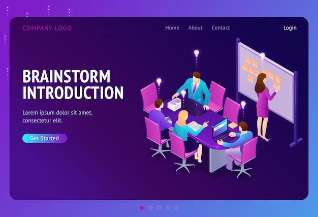 Pagina di destinazione isometrica introduzione al brainstorming Vettore gratuito