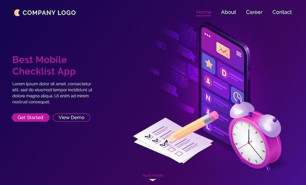 Pagina di destinazione isometrica lista di controllo, app mobile. Vettore gratuito