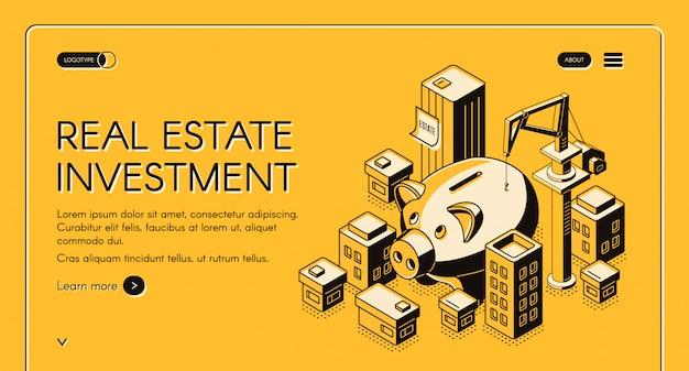 Pagina di destinazione isometrica per investimenti immobiliari Vettore gratuito