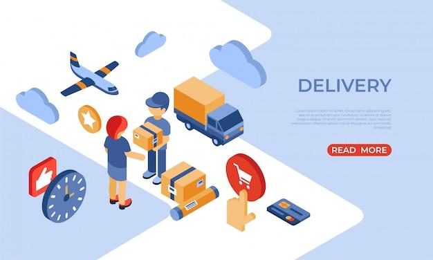Pagina di destinazione isometrica per la consegna del negozio online Vettore Premium