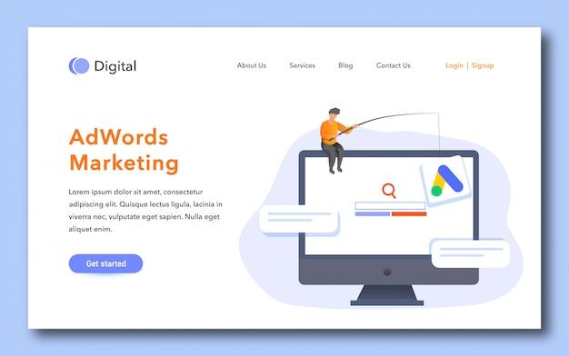 Pagina di destinazione marketing adwords Vettore Premium