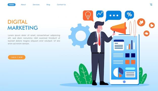 Pagina di destinazione marketing digitale in stile piatto Vettore Premium