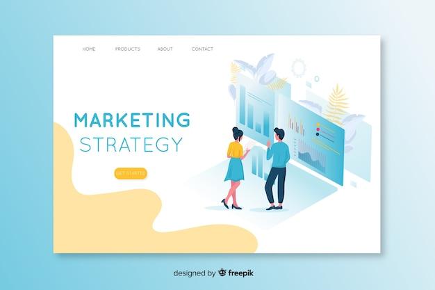 Pagina di destinazione marketing isometrica Vettore gratuito