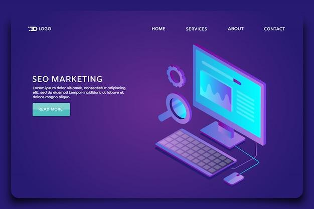 Pagina di destinazione marketing seo Vettore Premium