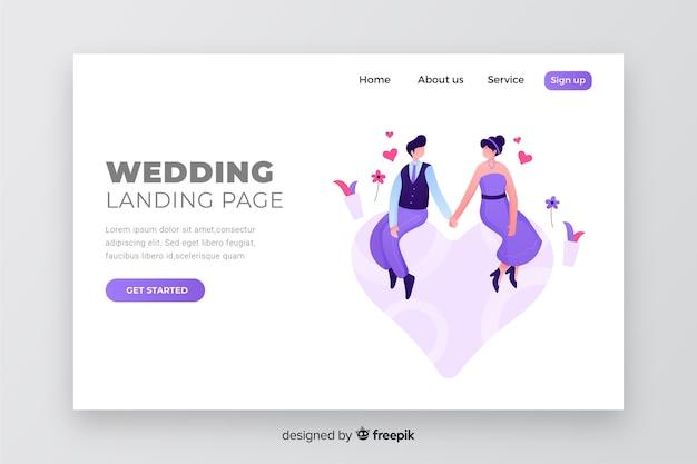 Pagina di destinazione matrimonio colorato coppia Vettore gratuito