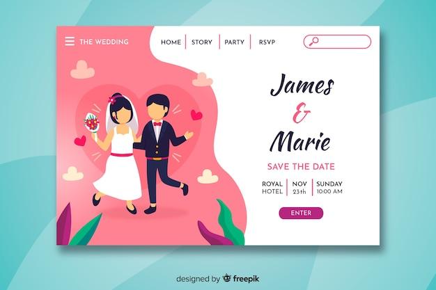 Pagina di destinazione matrimonio colorato Vettore gratuito