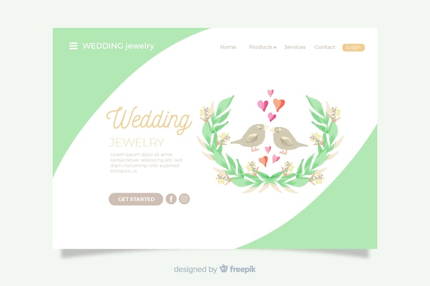Pagina di destinazione matrimonio uccelli carini Vettore gratuito
