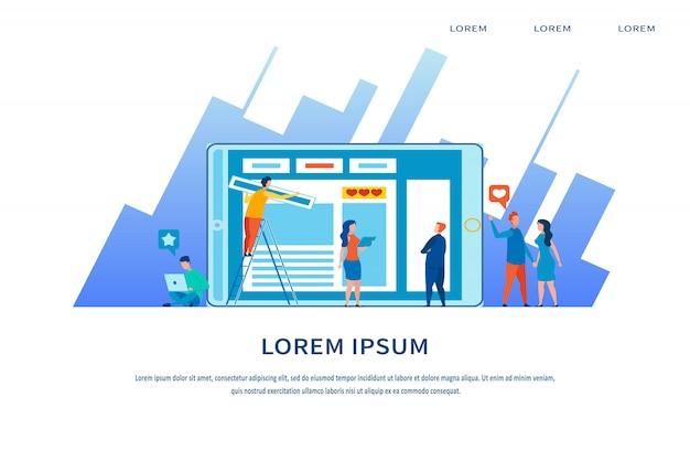 Pagina di destinazione media marketing e content strategy Vettore Premium
