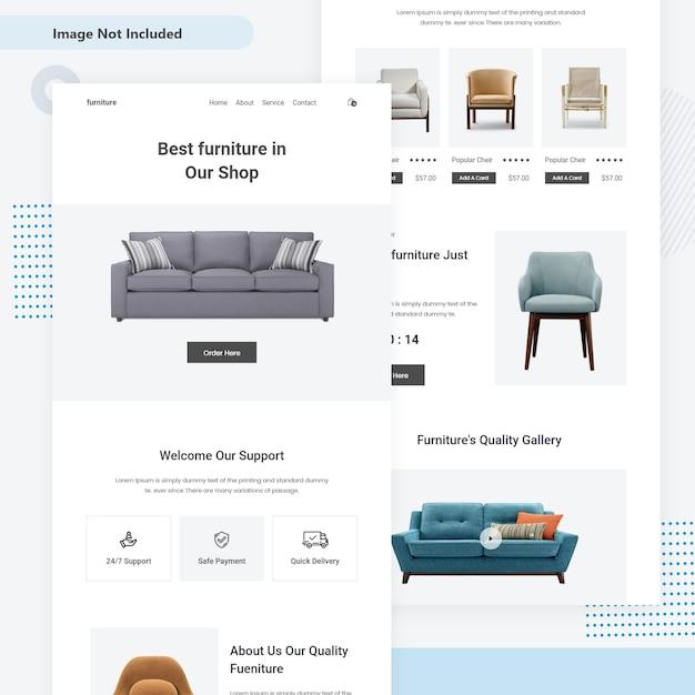 Pagina di destinazione mini web di vendita di mobili Vettore Premium