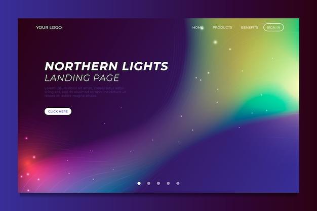Pagina di destinazione modello aurora boreale Vettore gratuito