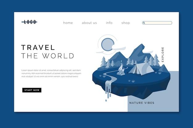 Pagina di destinazione modello di viaggio sul classico colore blu Vettore gratuito