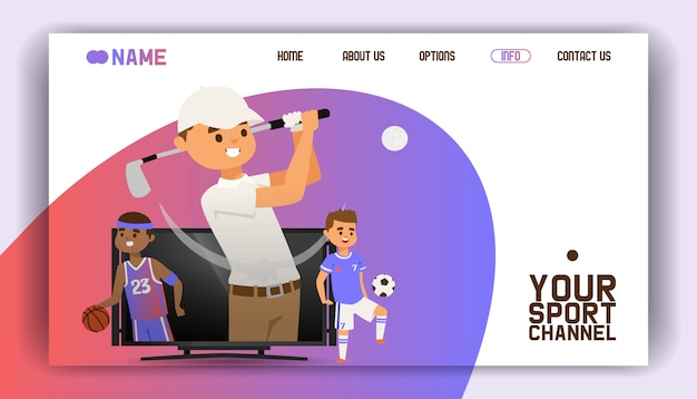 Pagina di destinazione, modello web. giocare a golf con attrezzature come giocatori di club e palloni, calcio e basket in piedi sullo schermo della tv. Vettore Premium