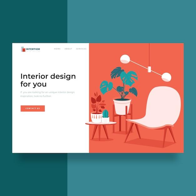 Pagina di destinazione moderna della decorazione interna domestica Vettore Premium