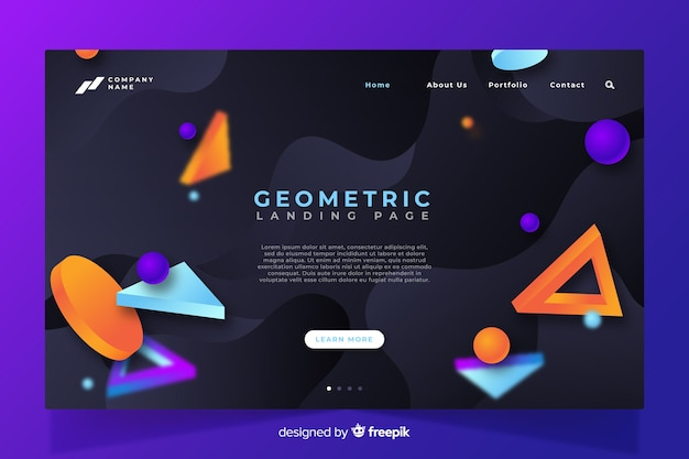 Pagina di destinazione moderna geometrica 3d Vettore gratuito