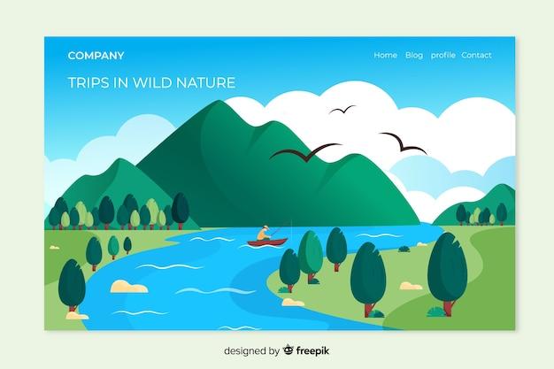 Pagina di destinazione natura con paesaggio Vettore gratuito