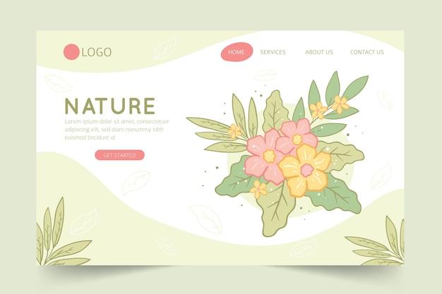 Pagina di destinazione natura disegnata a mano Vettore gratuito