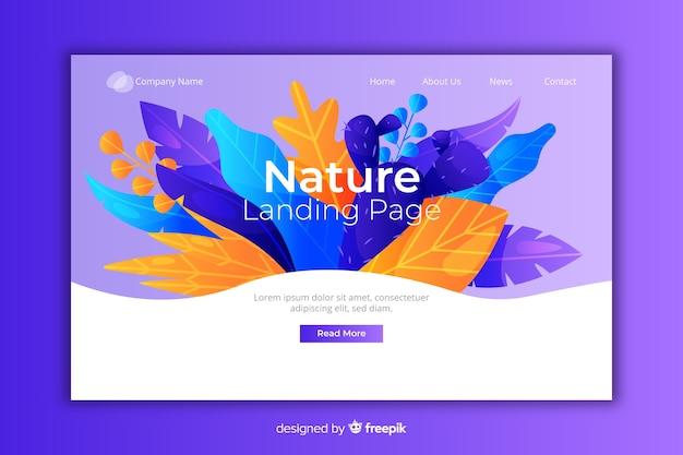 Pagina di destinazione naturale con fiori Vettore gratuito