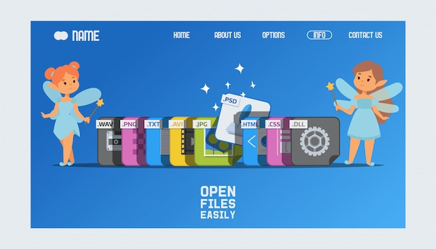Pagina di destinazione o modello web con estensioni di file e fate con bacchette magiche che aiutano ad aprire il formato psd. Vettore Premium