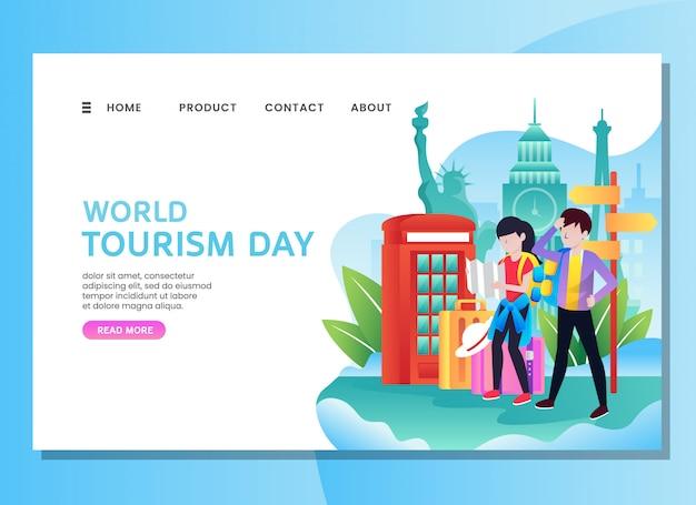 Pagina di destinazione o modello web. giornata mondiale del turismo con coppia Vettore Premium