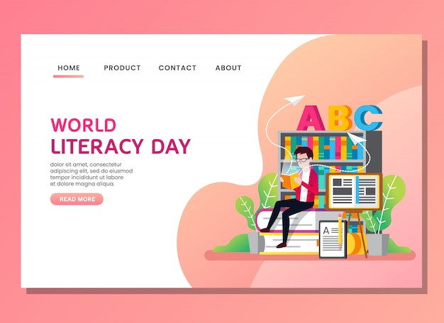 Pagina di destinazione o modello web. giornata mondiale dell'alfabetizzazione con l'uomo che legge un libro Vettore Premium
