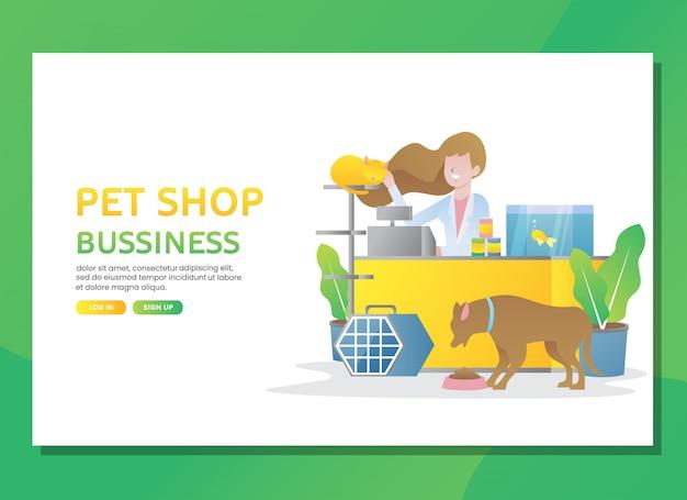 Pagina di destinazione o modello web. negozio di animali da compagnia con donna Vettore Premium