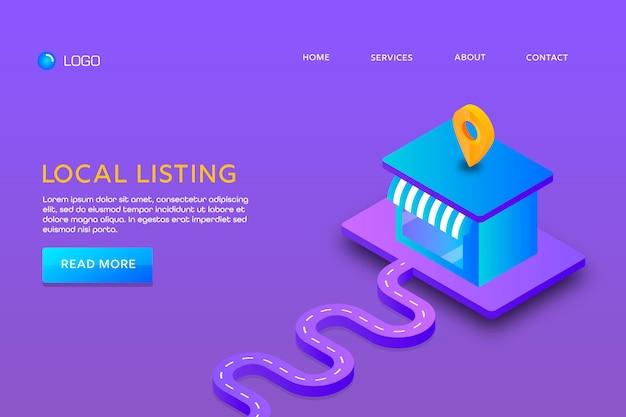 Pagina di destinazione o progettazione di modelli web. elenco locale Vettore Premium