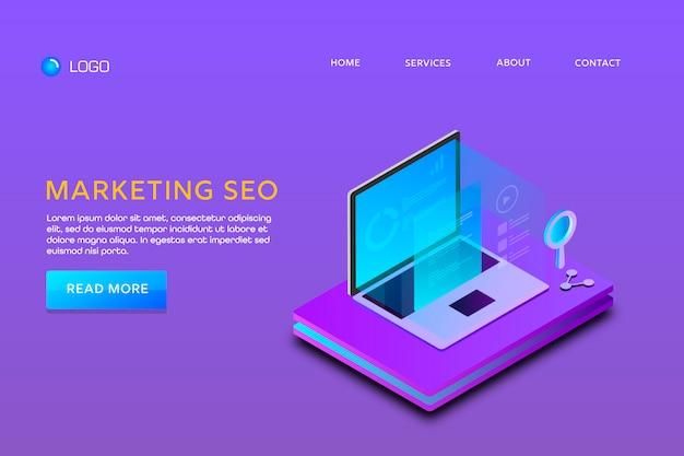 Pagina di destinazione o progettazione di modelli web. marketing seo Vettore Premium