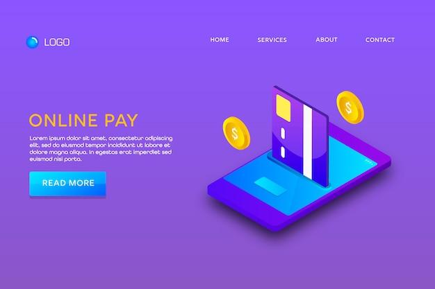 Pagina di destinazione o progettazione di modelli web. pagamento online Vettore Premium