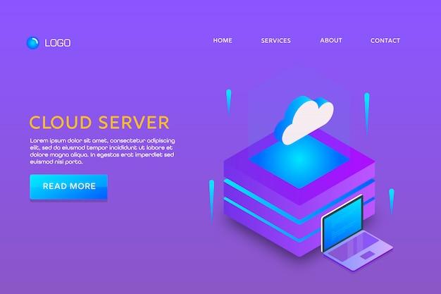 Pagina di destinazione o progettazione di modelli web. server cloud Vettore Premium