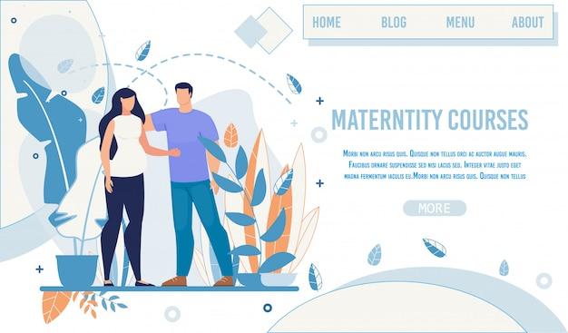 Pagina di destinazione offerta corsi di maternità e formazione Vettore Premium
