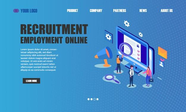 Pagina di destinazione online per l'assunzione di personale Vettore Premium