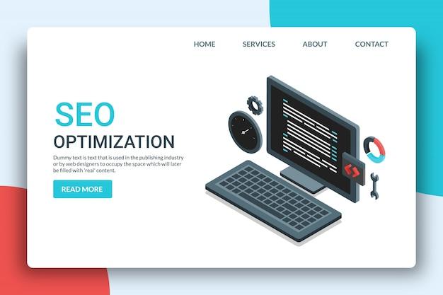 Pagina di destinazione ottimizzazione seo Vettore Premium